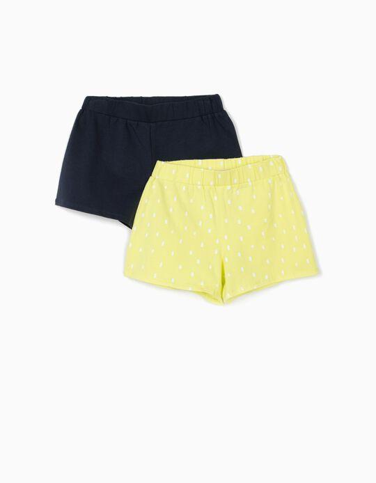 2 Calções Jersey para Menina 'Dots', Azul Escuro/Amarelo Lima