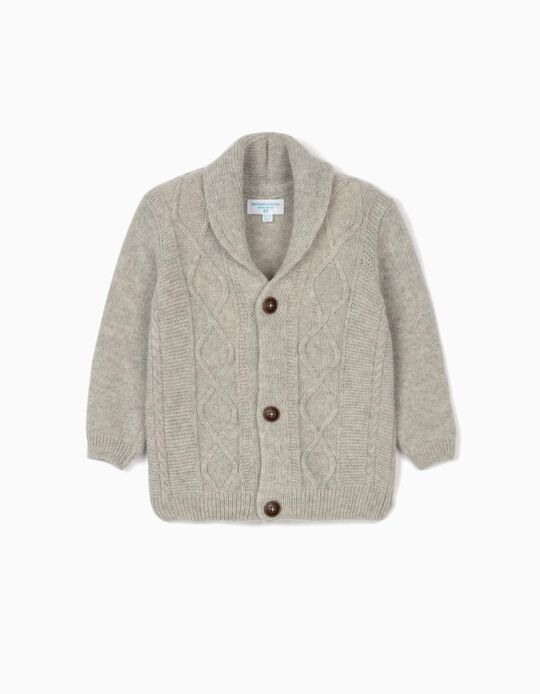 Woollen Cardigan for Baby Boys, 'B&S', Grey