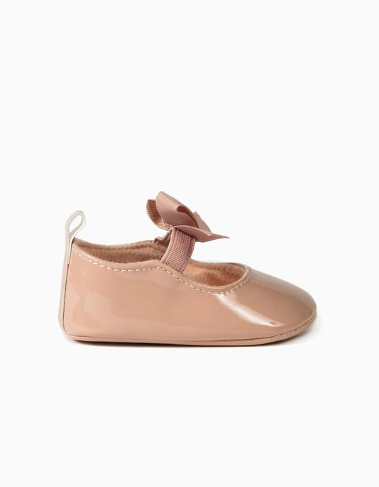 Patent Ballet Pumps for Newborn Baby Girls, Pink