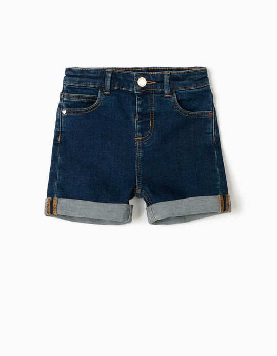 Denim Shorts for Baby Girls, Blue