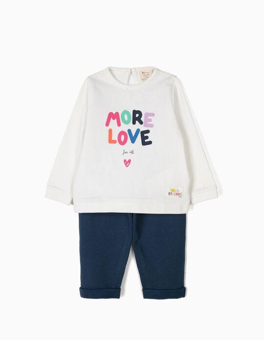 Fato de Treino para Bebé Menina 'More Love', Branco e Azul