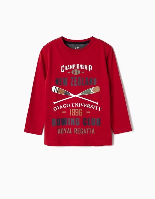 Camiseta de Manga Larga para Niño 'New Zealand', Rojo