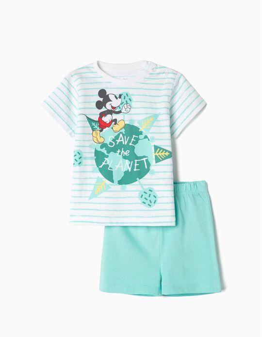 Pijama Algodón Orgánico para Bebé 'Mickey Earth Day', Azul y Blanco