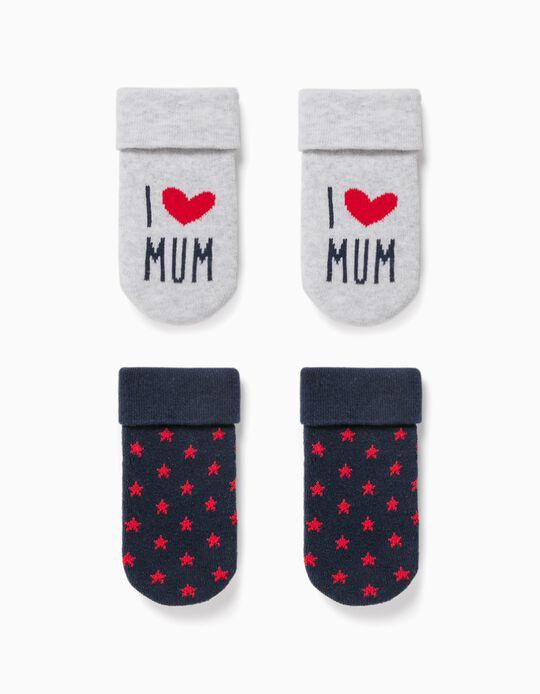 2 Pares de Calcetines para Bebé Niño 'Mum', Gris/Azul/Rojo