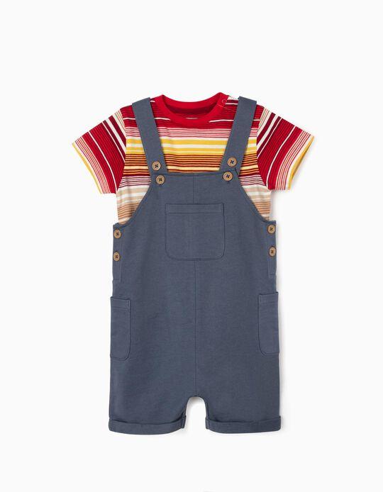 Macacão + T-shirt para Bebé Menino, Azul/Riscas