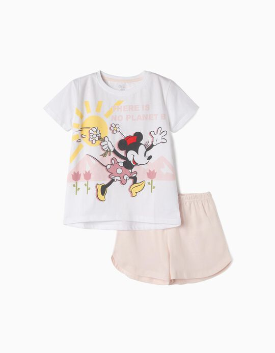 Pijama Algodón Orgánico para Niña 'Minnie Earth Day', Rosa y Blanco