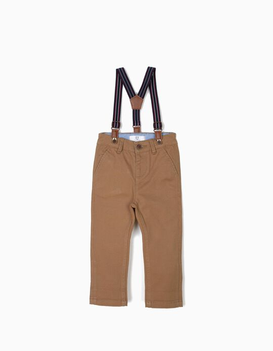 Trousers with Suspenders for Baby Boys, Camel