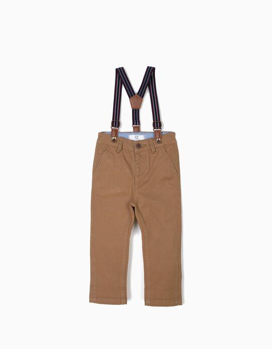 Pantalon à Bretelles Bébé Garçon, Camel