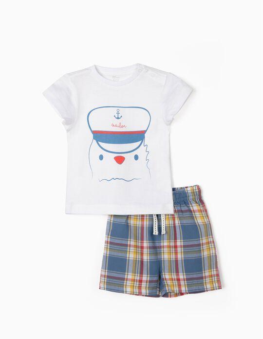 Pijama para Bebé Niño 'Sailor', Blanco/Ajedrez