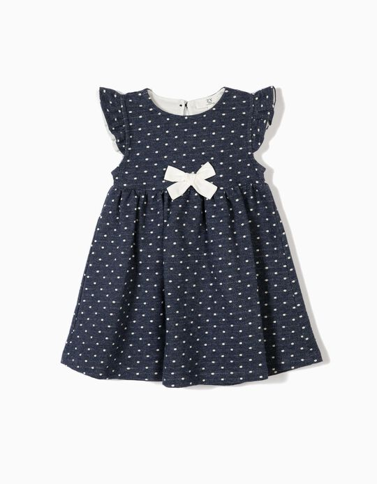 Vestido para Bebé Menina 'Polka Dot' com Laço, Azul