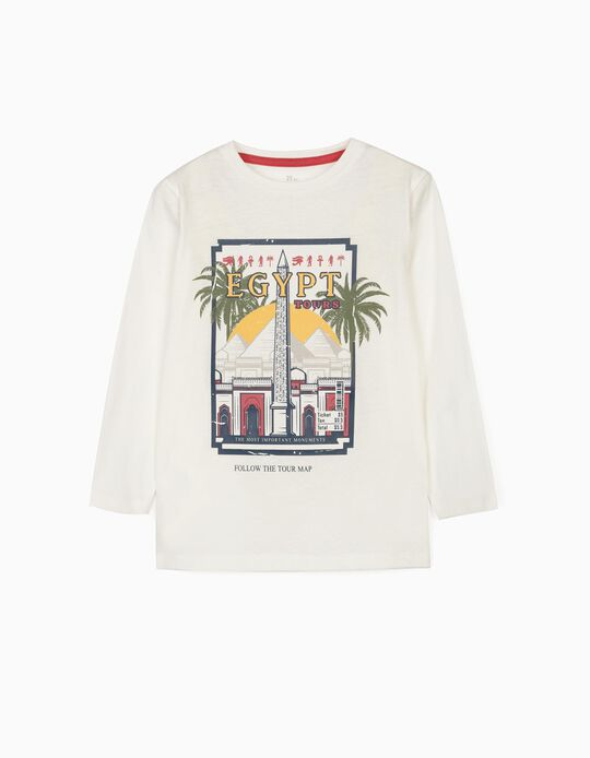 Long Sleeve Top for Boys, 'Explore Cairo', White