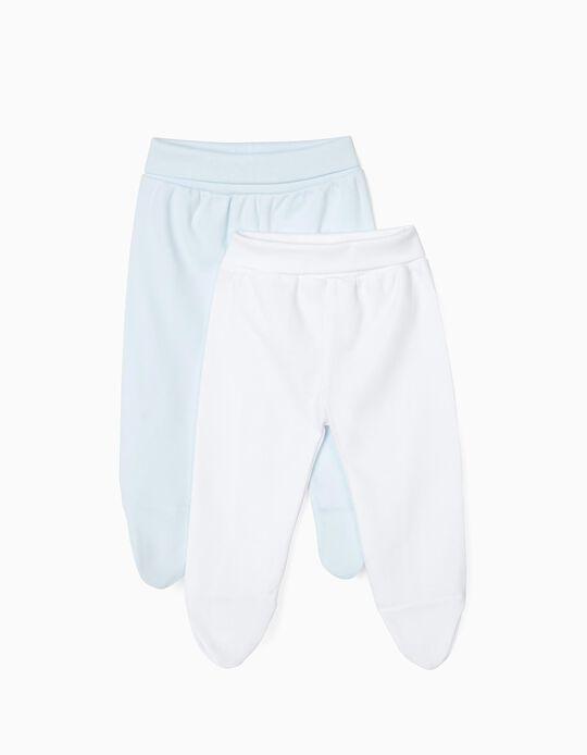 2 Pantalones con Pies para Recién Nacido, Blanco y Azul