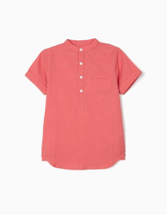 Camisa com Textura para Menino, Coral