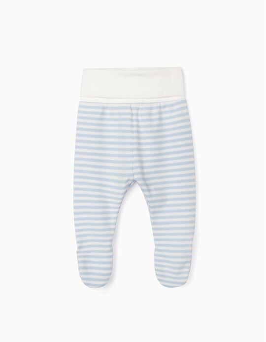 Pantalón con Pies para Recién Nacido'WH', Azul/Blanco