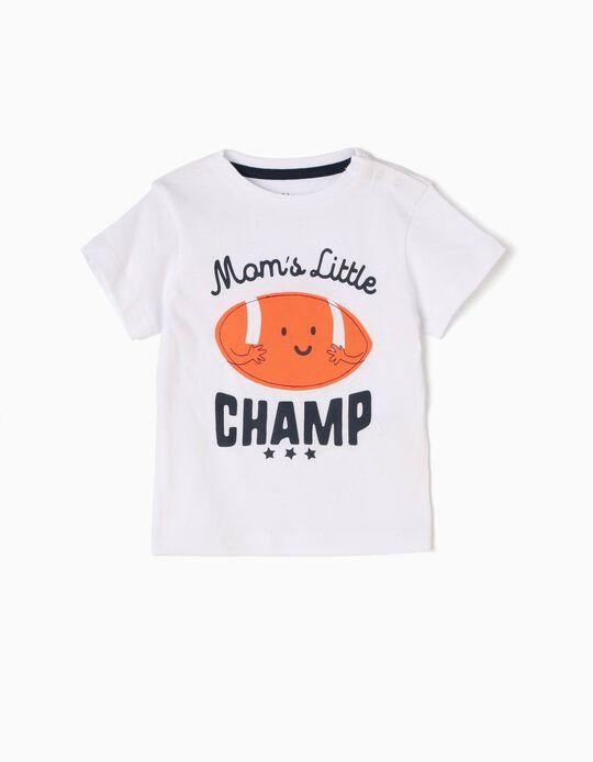 T-shirt Mom's Little Champ Branca