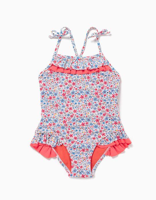 Maillot de bain protection UV 80 fille 'Flowers' , blanc/corail