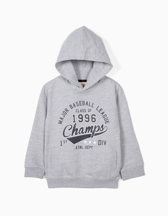 Sweatshirt para Menino 'ZY Champs' com Capuz, Cinza
