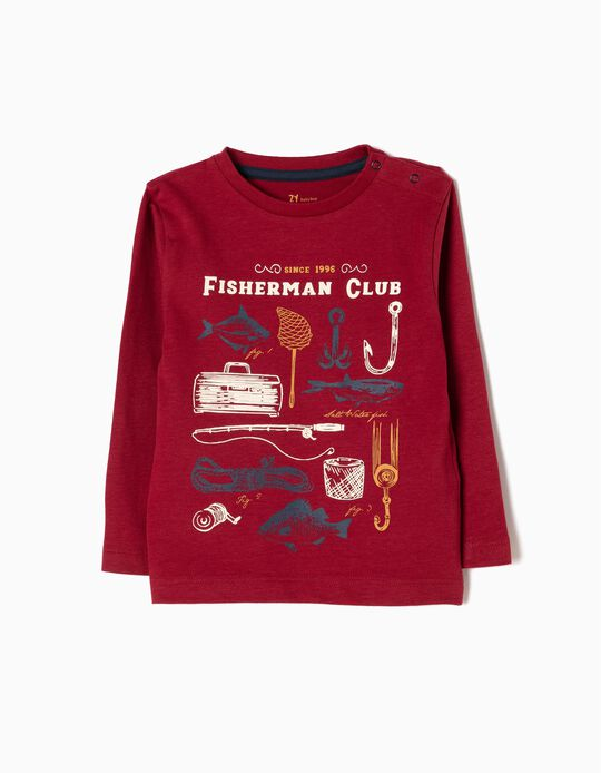 T-shirt Manga Comprida Fisherman Vermelha