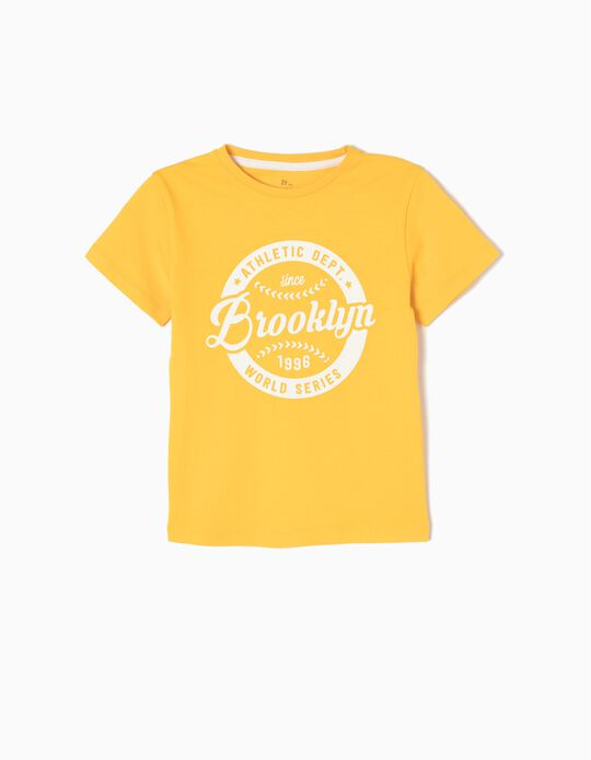 T-shirt Baseball Amarela