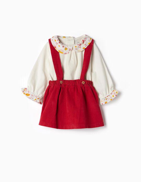 Falda con Peto y Camiseta para Recién Nacida, Burdeos y Blanco