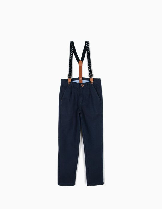 Pantalón con Tirantes Niño Azul B&S