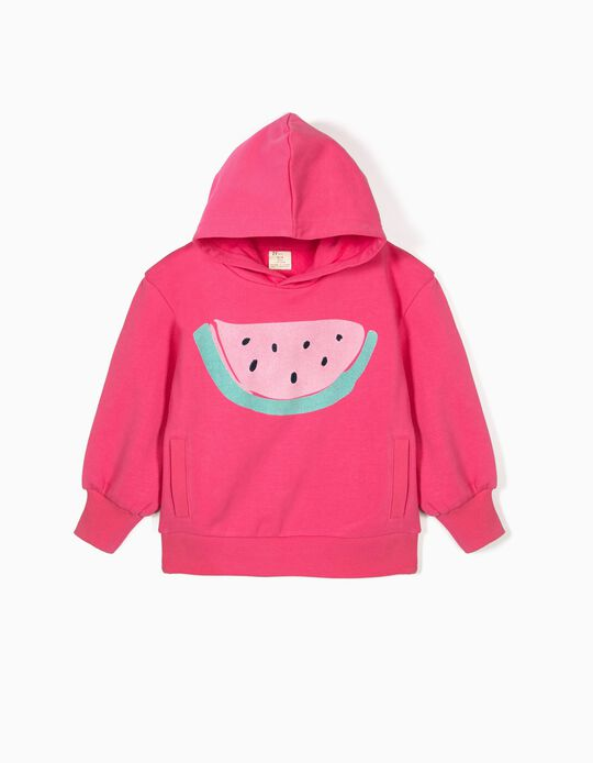 Sweatshirt com Capuz para Menina 'Melancia', Rosa