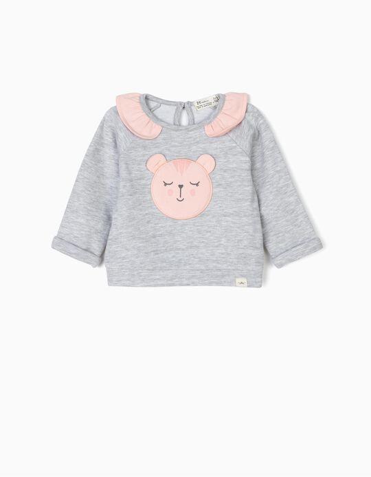 Sweatshirt para Recém-Nascida 'Animals', Cinza e Rosa