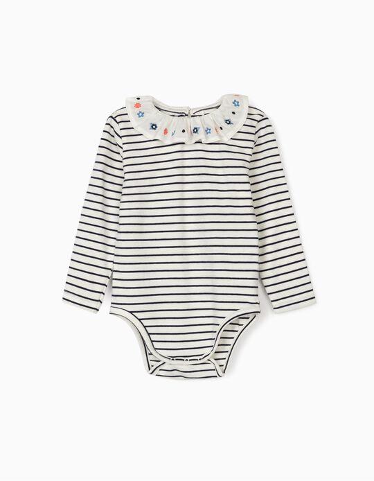 Body Riscas para Bebé Menina, Branco/Azul