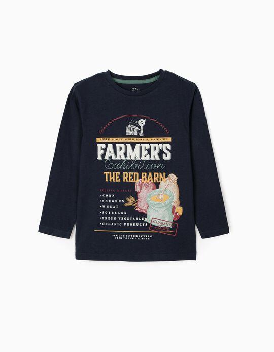 Long Sleeve T-Shirt for Boys 'The Red Barn', Dark Blue