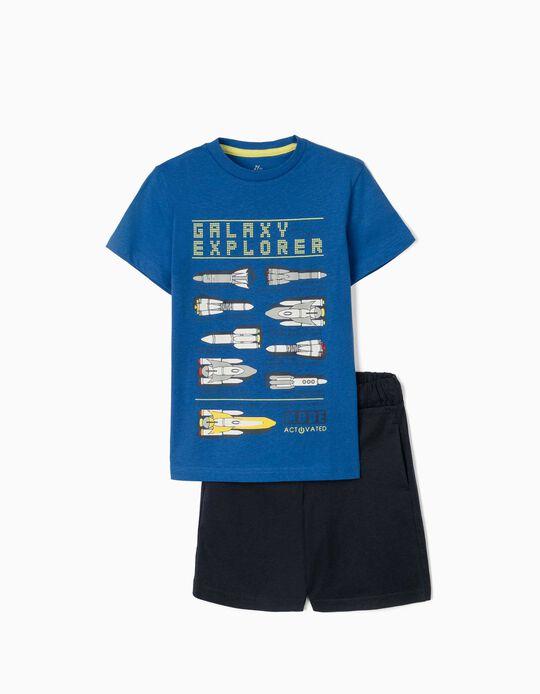 T-shirt & Shorts for Boys, 'Galaxy Explorer', Blue