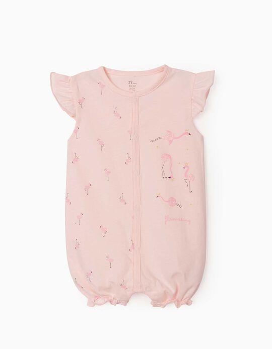 Grenouillère manches courtes bébé fille 'Flamaring', rose