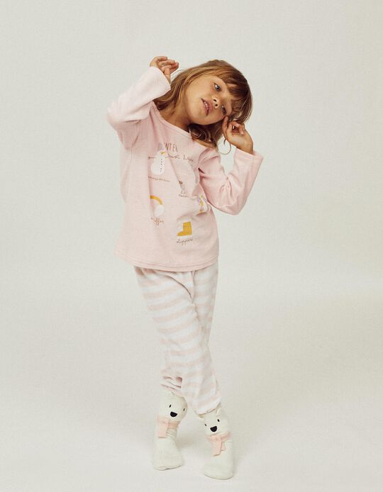 Pijama de Veludo para Menina 'Winter Must Haves', Rosa