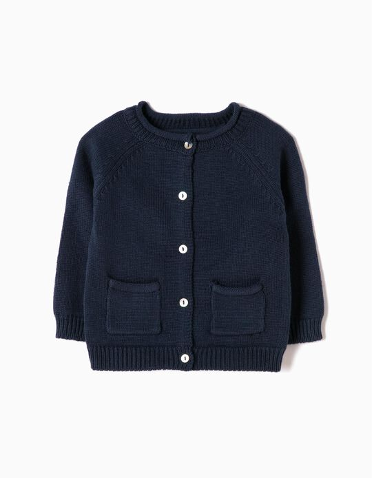 Cardigan for Newborn Girls, Dark Blue