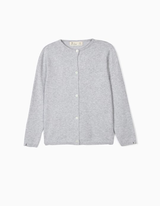 Knit Cardigan for Girls, Light Grey