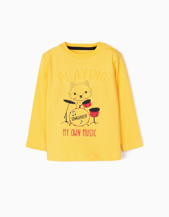 Camiseta Manga Larga para Bebé Niño 'Playing', Amarillo
