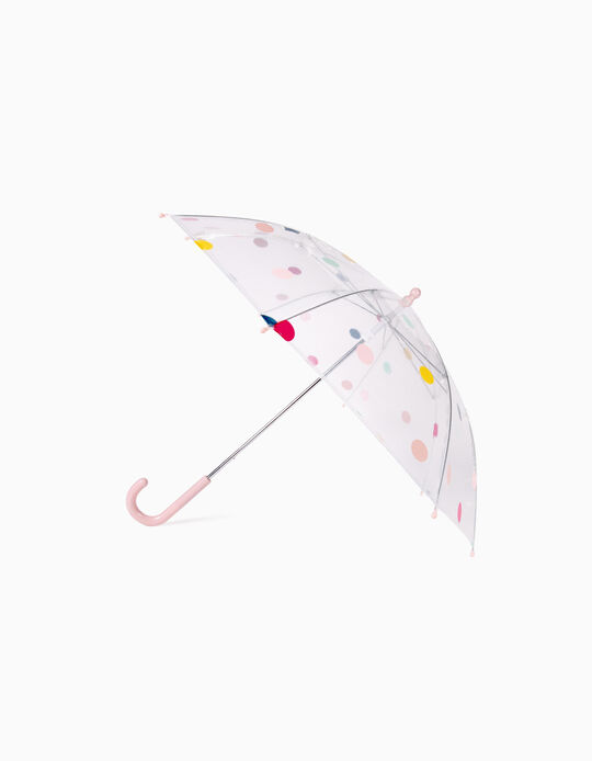 Umbrella for Girls 'Dots', Transparent