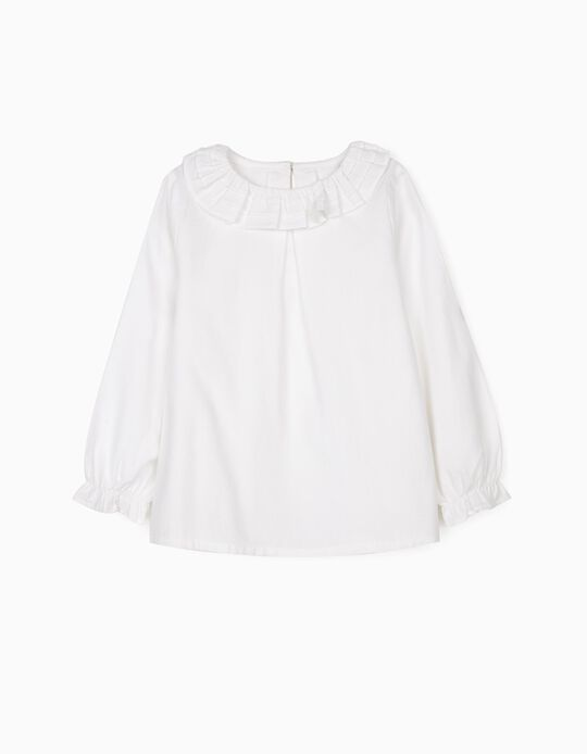 Blouse with Ruffles, for Girls, White