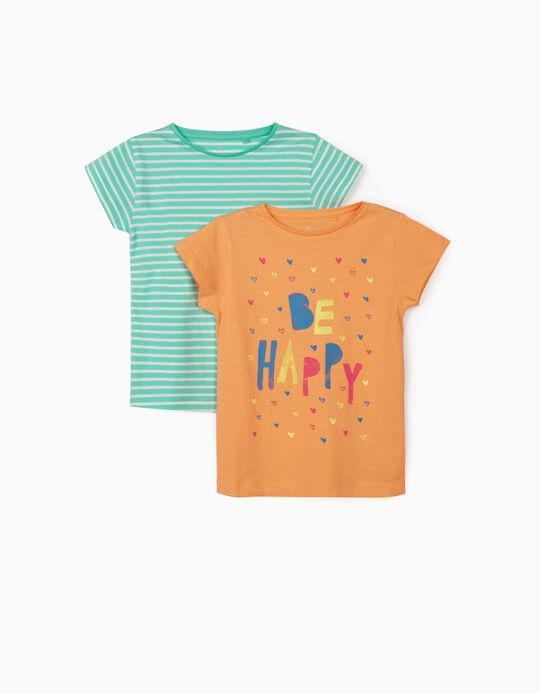 2 T-shirts for Girls, 'Be Happy', Orange/White/Aqua Green