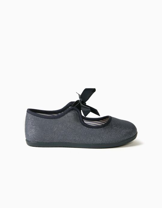 Shiny Denim Ballerina Pumps for Girls, 'ZY Ballerina', Dark Blue