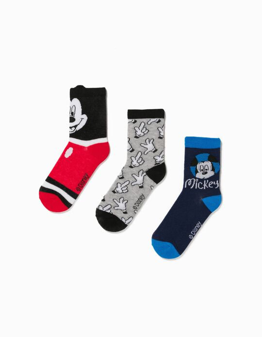 3 Pairs of Socks for Boys, 'Mickey Mouse', Grey/Red/Blue