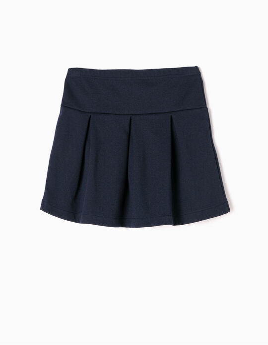 Falda con Pliegues Azul Marino