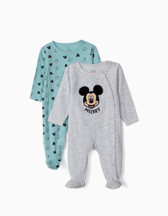 2 Peleles para Bebé Niño 'Mickey', Gris/Azul