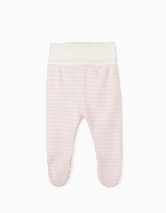 Pantalón con Pies para Recién Nacida 'WH', Rosa/Blanco