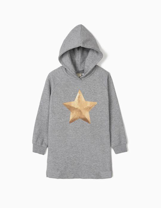 Vestido con Capucha para Niña 'Star', Gris