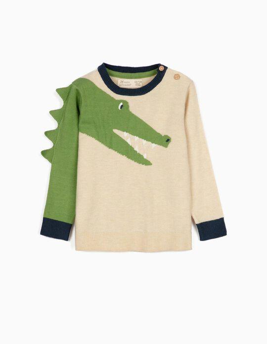 Jumper for Baby Boys, 'Croc', Beige/Green