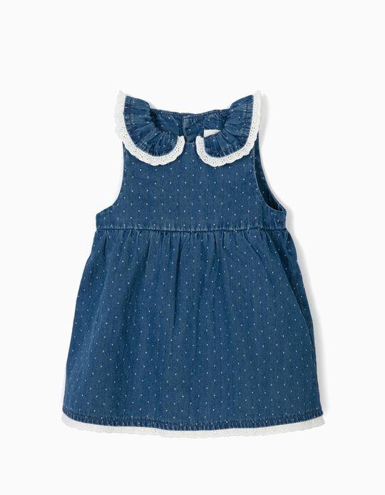 Vestido de Ganga para Recém-Nascida com Tapa-Fraldas, Azul