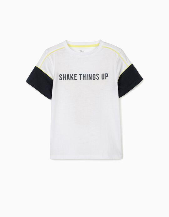 T-shirt para Menino 'Shake Things Up', Branco