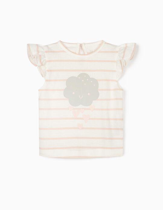 Striped T-shirt for Newborn Baby Girls 'Cloud', Pink/White