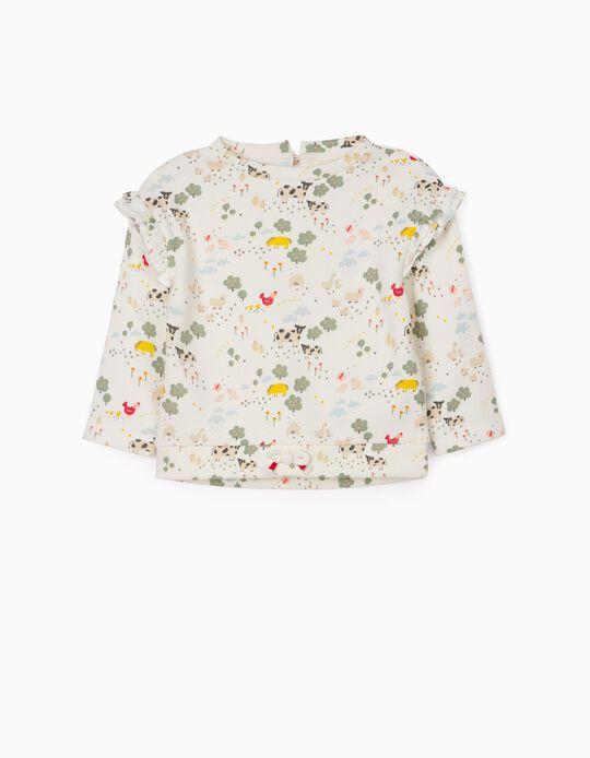 Sweatshirt for Baby Girls, 'Farm', White