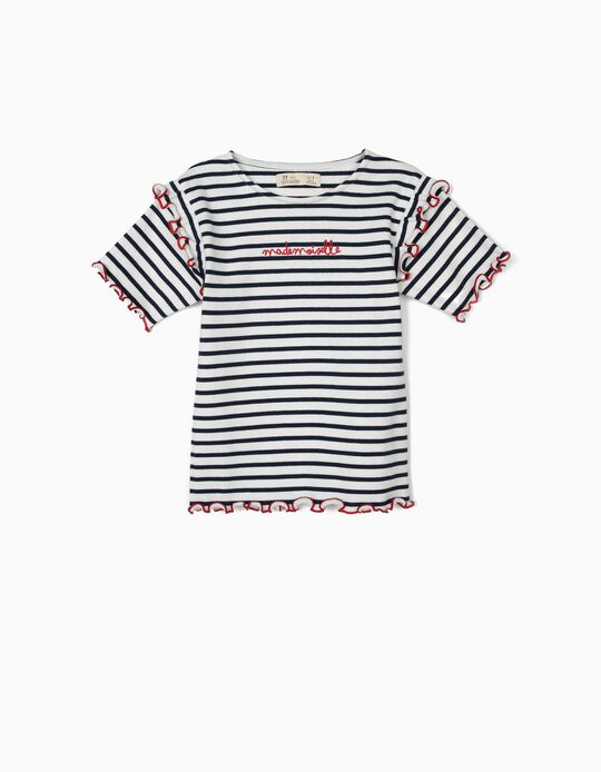 Ribbed T-shirt for Girls 'Mademoiselle', Blue and White